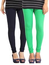 Pista Green & Navy Blue Cotton, Lycra Legging - By