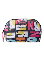 Multicolored Typography Print Travel Pouch - Be... For Bag