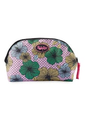Pink- Multicolor Floral & Polka Dots Travel Pouch - Be... For Bag