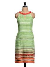 Stripes Printed Sleeveless Cotton Kurta - Shakumbhari