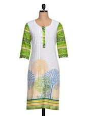 Three Quarter Sleeve Printed Cotton Kurta - Shakumbhari
