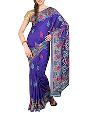 Blue Art Silk Printed Saree With Blouse - By