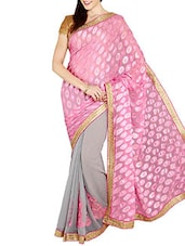 Pink & Grey Brasso Chiffon Saree - By